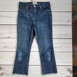 Everlane High Rise Kick Crop Dark Wash Denim Jeans